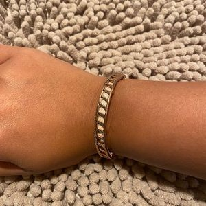 Stella and Dot Rose Gold and Leather Bracelet